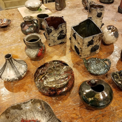 Beautiful raku pottery pieces, at Shadbolt Center for the Arts in Burnaby BC.