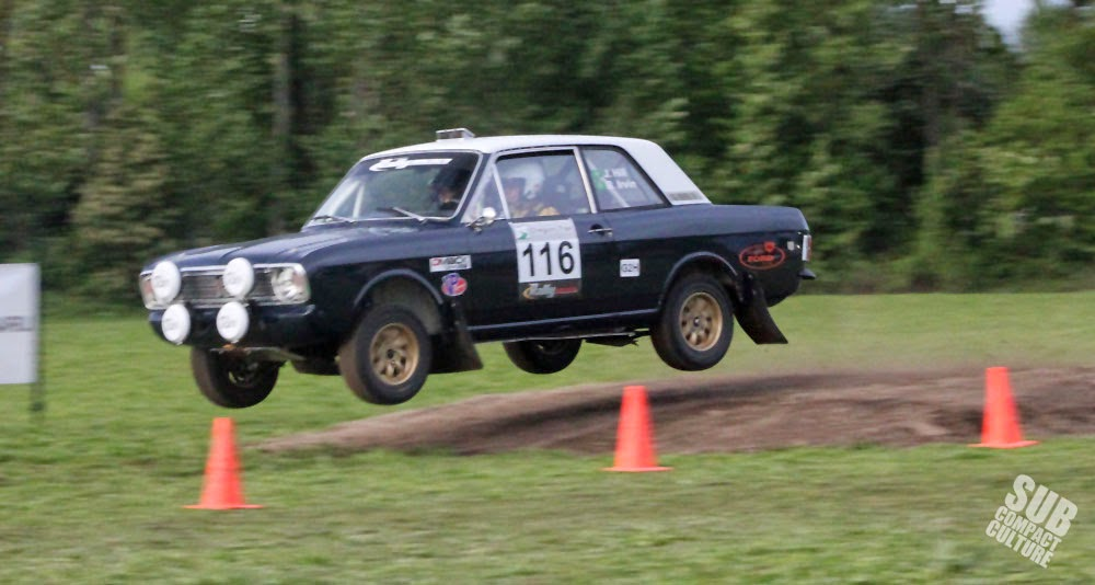 Ford Cortina Rally Car jumping