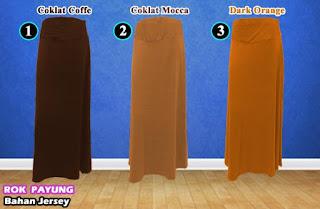 Grosir rok payung jersey polos ukuran panjang, jumbo dan murah