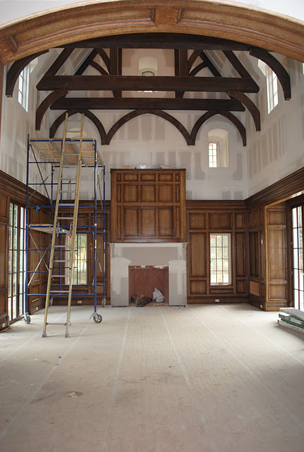 Under construction magnificent family room in Enchanted Home French chateau