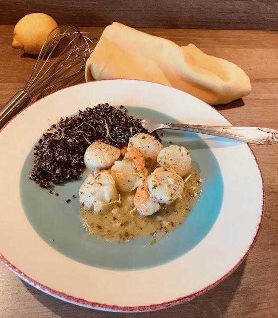 """Alt=""""noix saint jacques citron quinoa par cathy ducasse"""""""