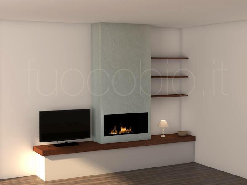 Parete attrezzata con biocamino stunning caminetti for Soggiorno olympo