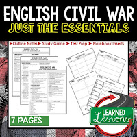 English Civil War, World History Outline Notes, World History Test Prep, World History Test Review, World History Study Guide, World History Summer School Outline, World History Unit Overview, World History Interactive Notebook Inserts