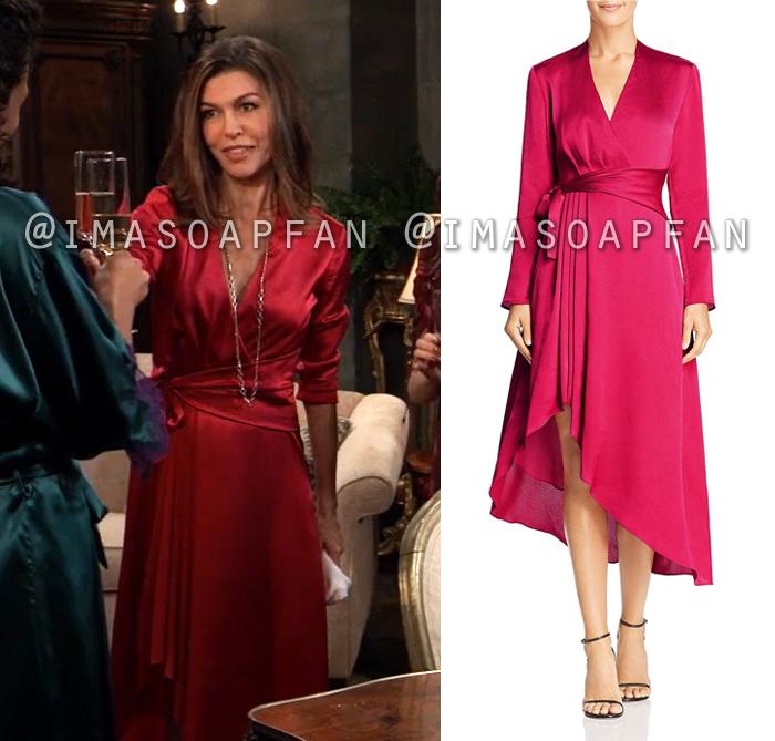 Anna Devane, Finola Hughes, Pinkish Red Wrap Dress, General Hospital, GH