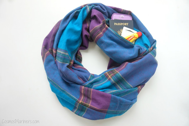 A Traveler's Must Have Accessory: Travel Scarf with Secret Pocket + Giveaway! | CosmosMariners.com