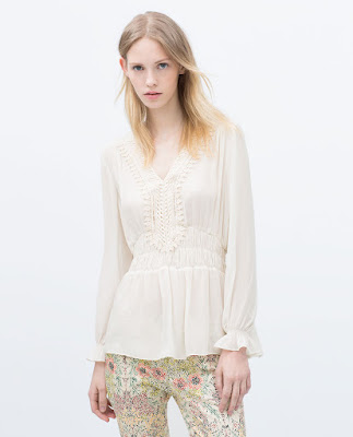 Zara Shirt With Guipure Lace Bib Front