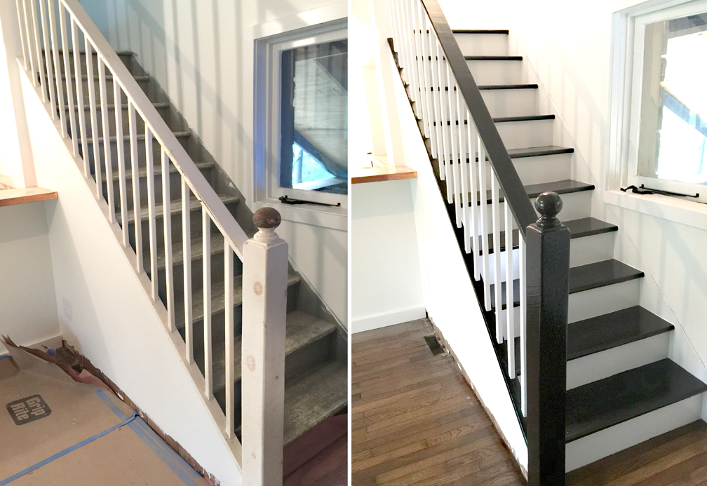 Facci Designs How To Paint A Staircase Black White Before And | Black And White Staircase Railing | Colour Combination | House | Indoor | 1920'S | Floors