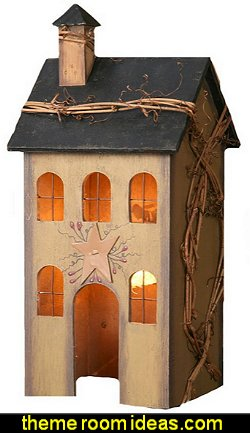 Primitive Home Electric Light  primitive americana decorating style - folk art - heartland decor - rustic Americana home decor - Colonial & Country style decorating Americana bedroom designs - Primitive Country Rustic decor