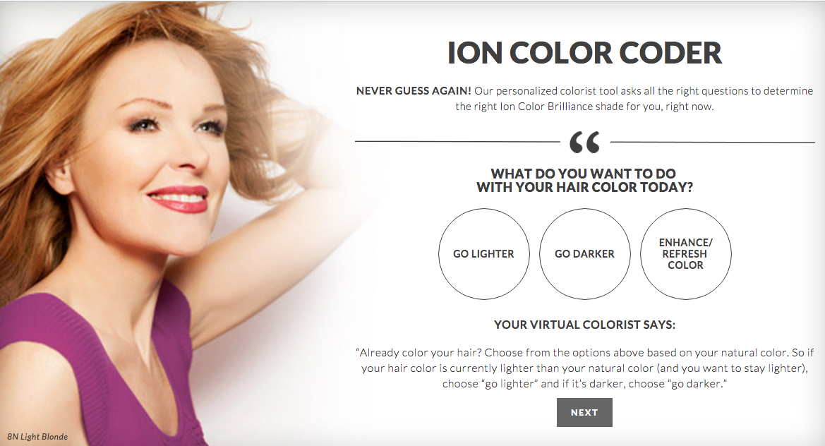 Ion at home hair color coder quiz do it yourself nubias nonsense i like that for every selection you make your virtual colorist gives you tips solutioingenieria Images