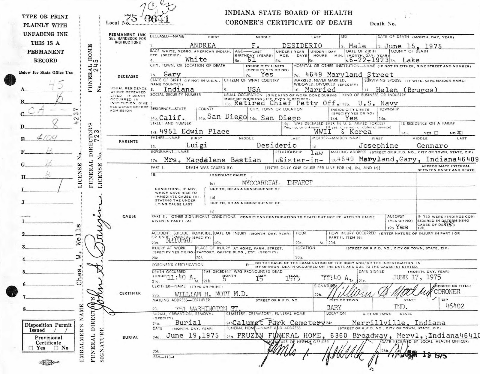 Porter countys past an amateur historians perspective murder certificate number 30349 filed july 2 1923 source indiana state board of health division of vital statistics xflitez Gallery