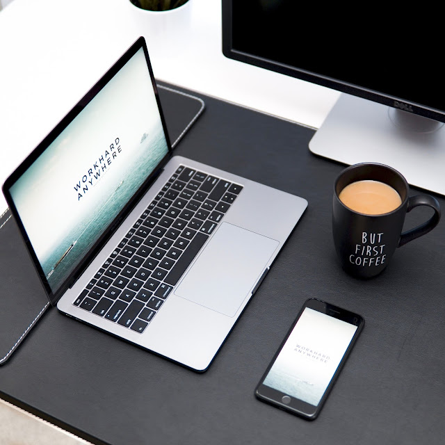 Blogging Internet Tech, Laptop, Mobile and Coffee on working table - Image: Unsplash