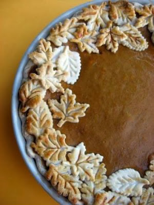 Pumpkin Pie with decorative leaf crust from Walking on Sunshine Recipes.