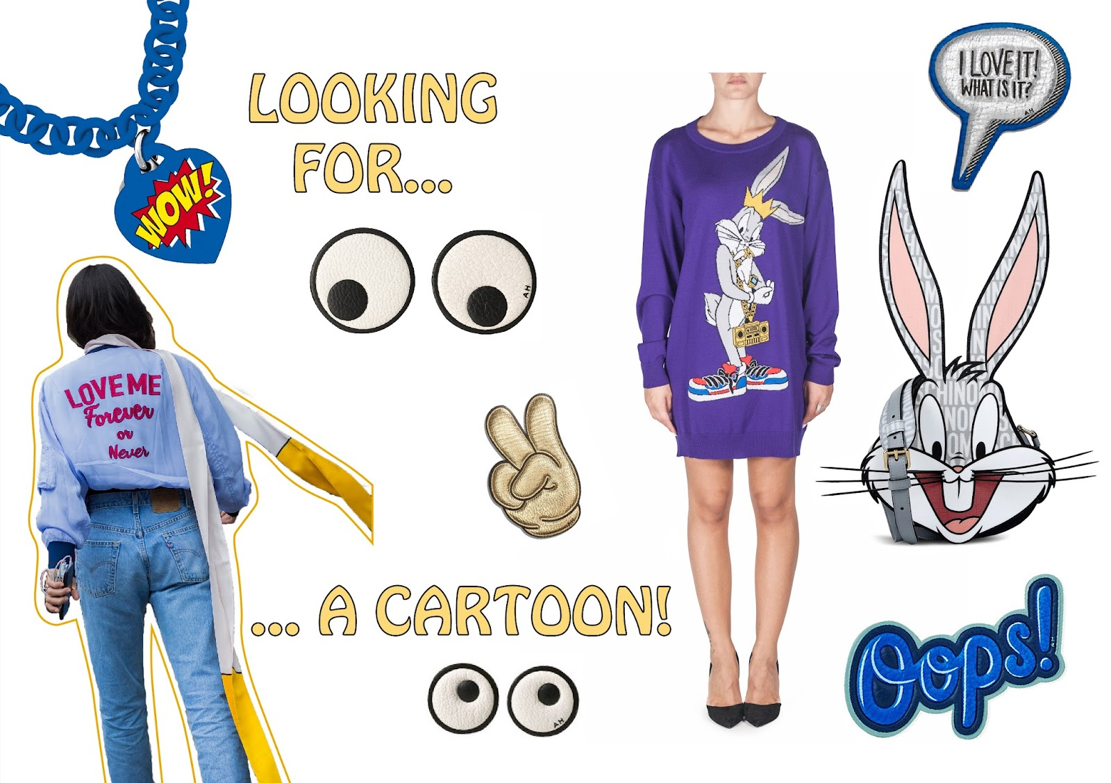 bag tshirt moschino bugs bunny looney tunes ops object