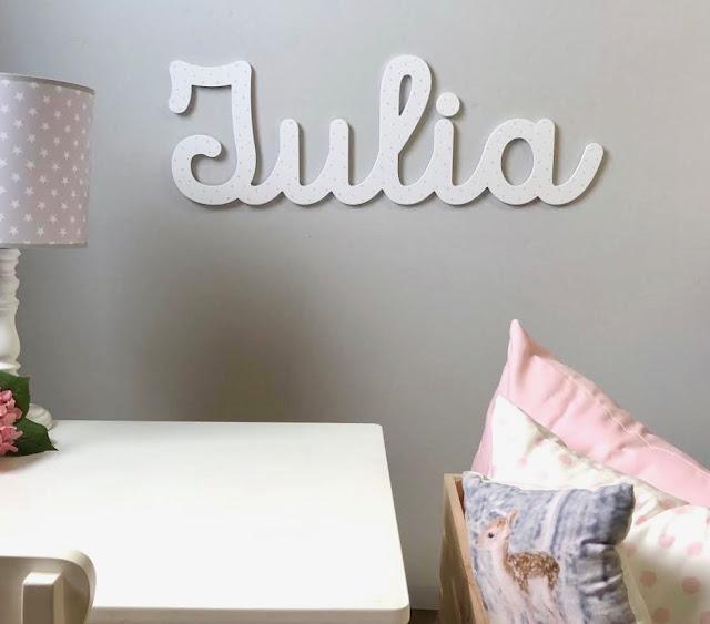 nombre de niña JULIA  para pegar en la pared , decoración infantil