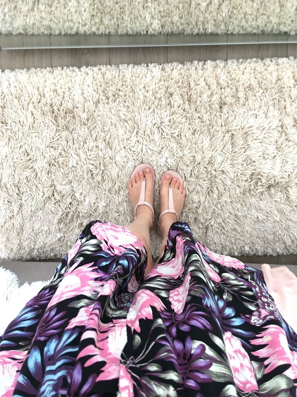 pink sandals and floral jumpsuit summer outfit