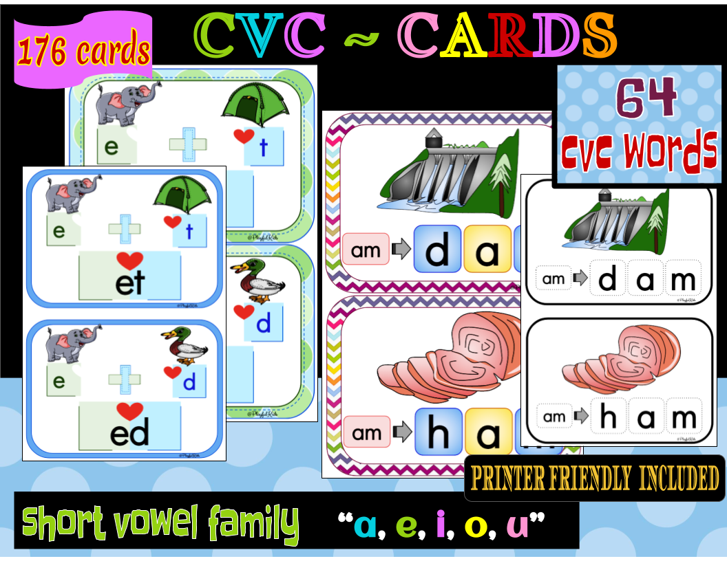 Cvc Word Flashcards/cards Set 1