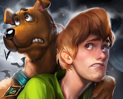 Ilustração de Scooby Doo e Salsicha na tenebrosa noite feita por Sakimichan