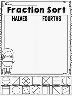 Halves and fourths fractions shape sort worksheet to practice half of and fourth of shapes in a fun way