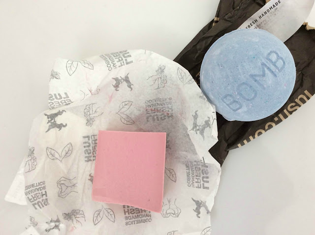 Lush Blackberry Bath Bomb and Rockstar Soap
