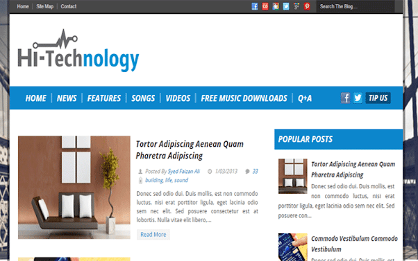Hi-Tech Technology Free Blogger Template