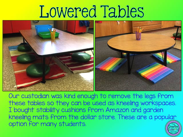 Lowered Tables: our custodian was kind enough to remove the legs from these tables so they can be used as kneeling workspaces. I bought stability cushions from Amazon and garden kneeling mats from the dollar store. These are a popular option for many students.