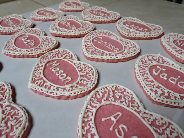 Personalized Valentine's Day Heart Sugar Cookies - Group Close Up 1