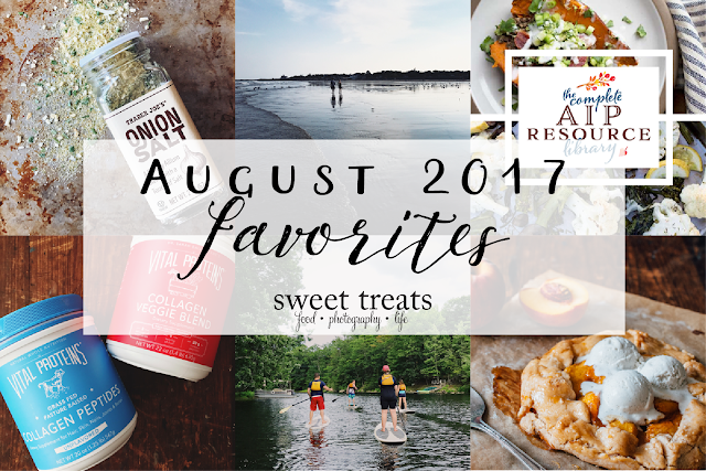 "A few favorites from August  2017 from Laura of ""Sweet Treats.""  The Complete AIP Resource Library, Peach Season, Paddle Boarding, Collagen, Walking by the Beach, and Trader Joe's Onion Salt"