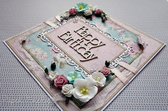 Shabby chic floral birthday card with chipboard words