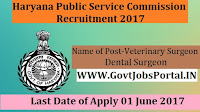 Haryana Public Service Commission Recruitment 2017– 301 Veterinary Surgeon & Dental Surgeon