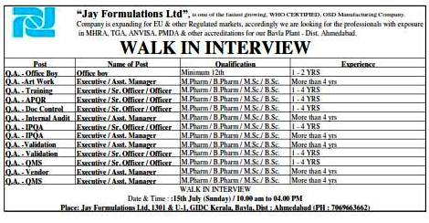 Jay Formulations Ltd. Walk In Interview For Multiple Positions at 15  July