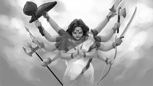 indian mythology art durga digital painting
