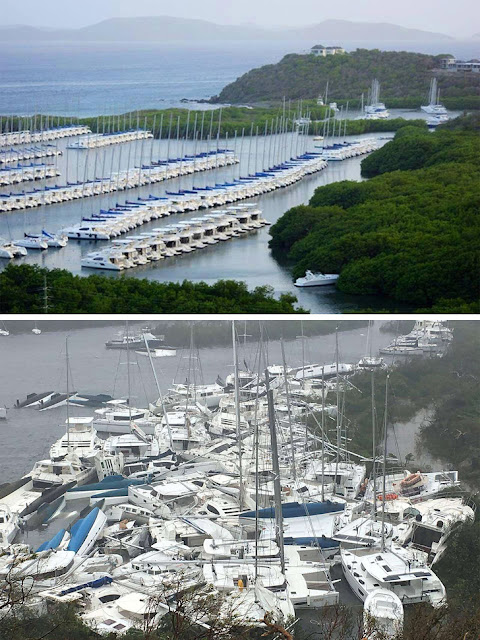 Before and after Hurricane Irma, British Virgin Islands