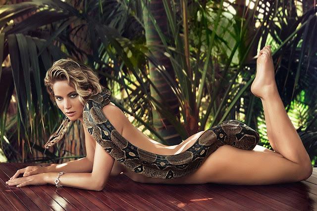 Jennifer Lawrence with snake