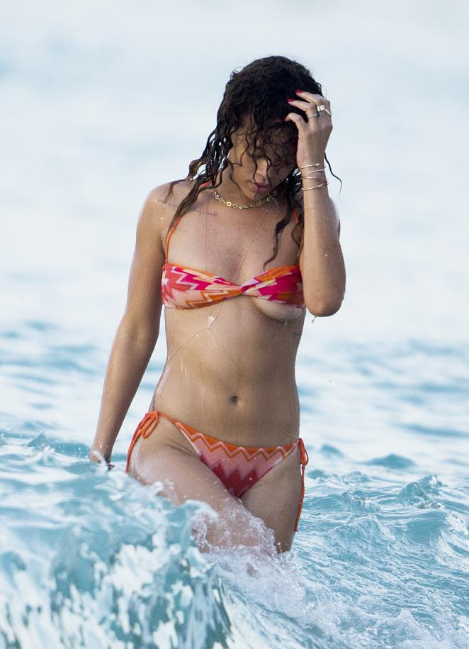 Rihanna Nipples in See-Through Bikini