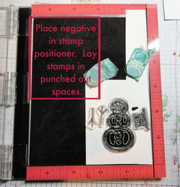 Stamp Positioner Punch Trick - Step 2 - place negative piece in stamp positioner and lay stamps in punched out spaces.