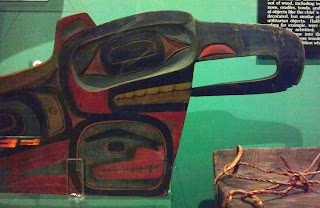 "Bow detail of a model Tlingit or Haida ""head"" canoe"