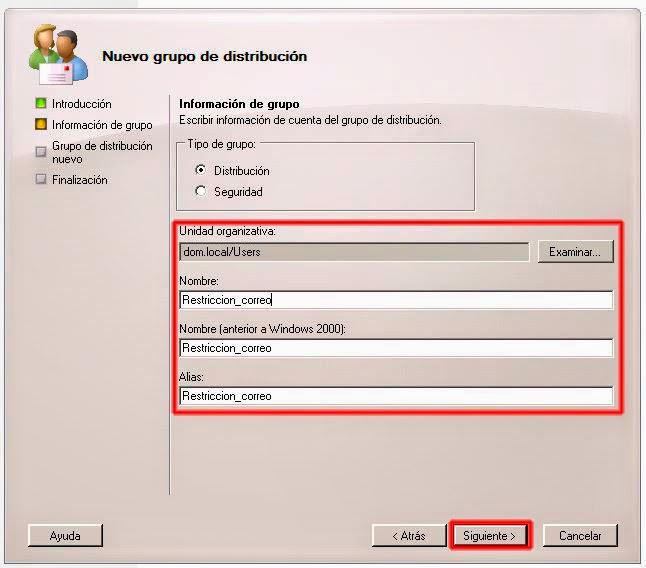Grupo de distribución nuevo - Información del grupo.
