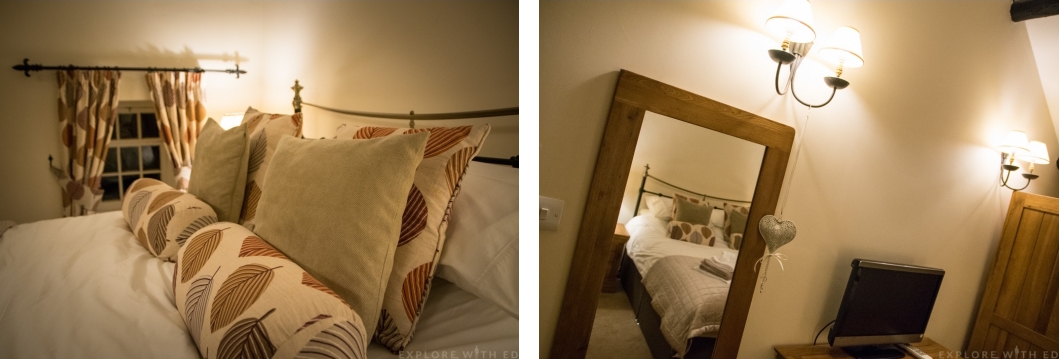 Comfortable double bed in Tyn y Coed Cottage