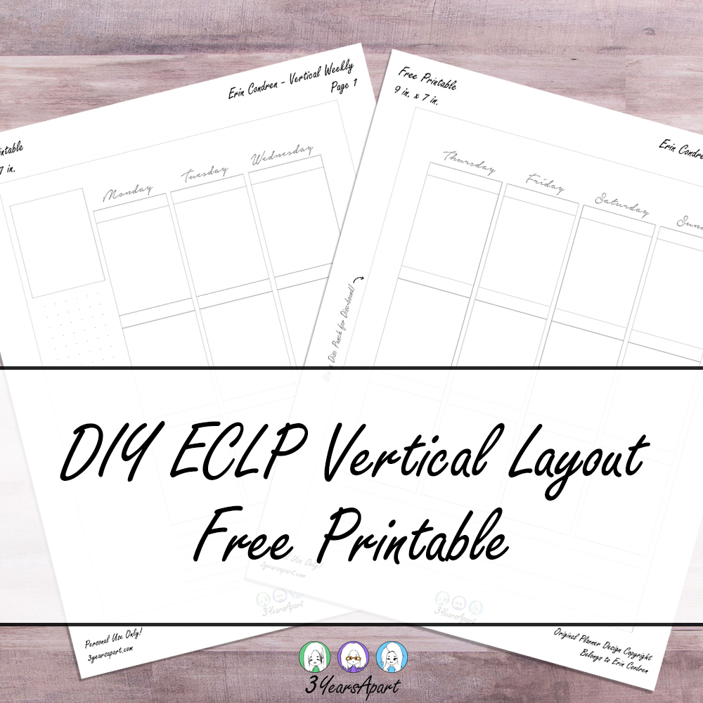 Free Planner Printable Vertical Weekly Inserts Ring Discbound