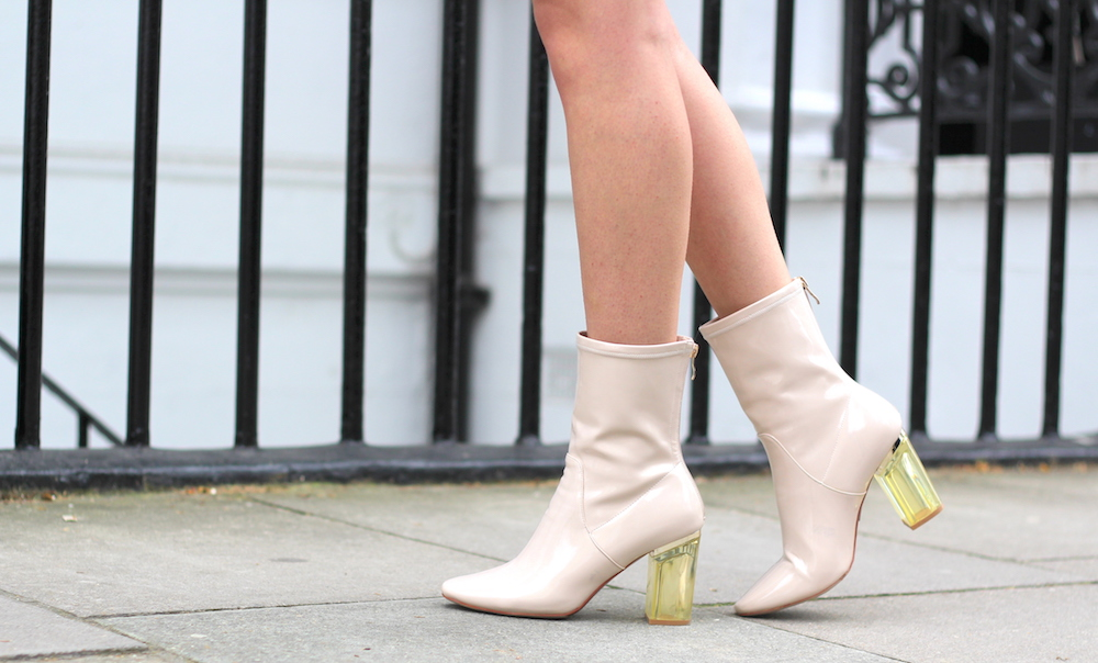 perspex heel boots ego ankle boots