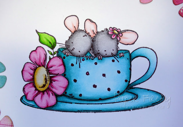 Floral card with mice in a teacup (image from Stamping Bella)