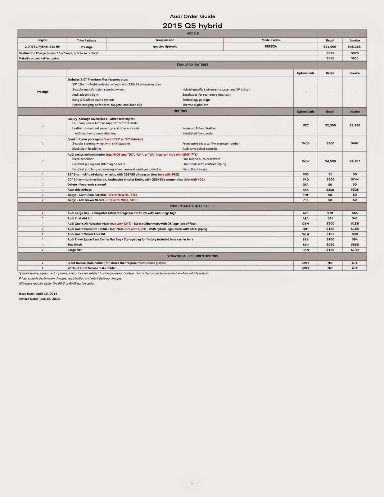 audi q5 motoring  2015 audi q5    sq5 price    order guide for us market