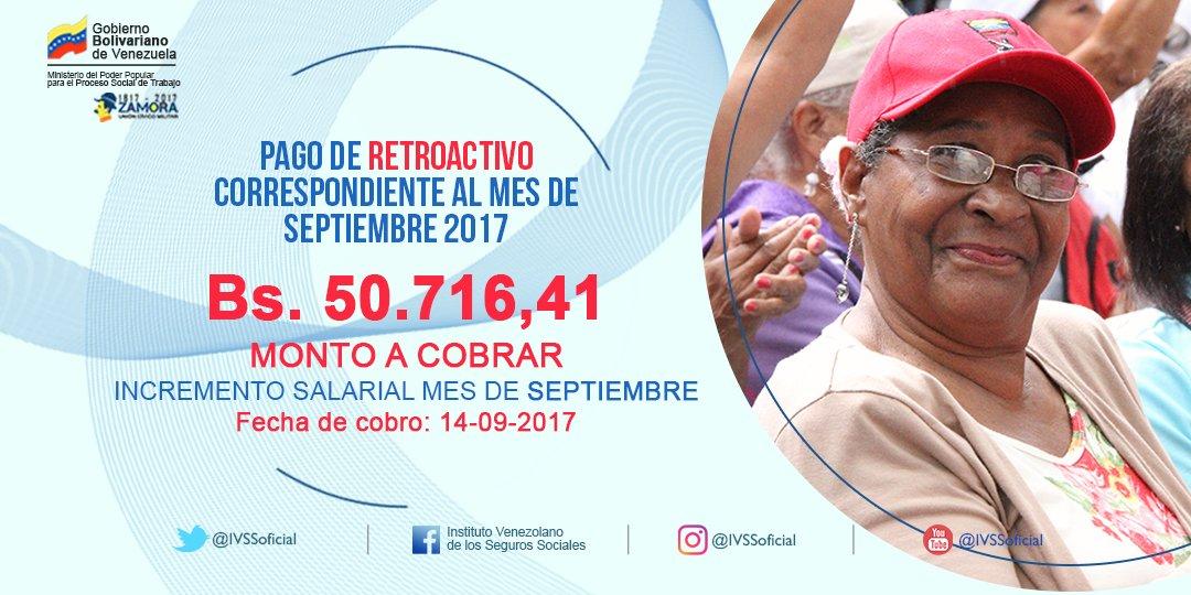Este jueves #14Sep se realizará el pago del retroactivo del aumento salarial para nuestros pensionados #IVSS de la Patria ¡Corre La Voz!