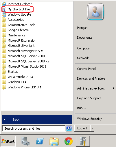 Add start menu shortcut icon via Group Policy