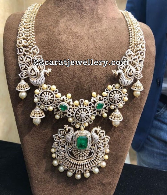 Jhumka Design Diamond Peacock Set