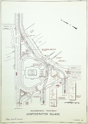 Line drawing of the triangular Confederation Square with Wellington along the left edge, Elgin coming in from the right, with red lines showing lane markings and directions. Traffic is intended to go around the war memorial in a counterclockwise pattern; islands at each corner of the triangle each permit three lanes channelized traffic to pass around the traffic circle. Streetcar lines come frmo Rideau Street at the top along the south edge of the triangle, with a pair of tracks splitting off to head west along Sparks Street and another pair continuing to turn West onto Albert. Various small text in red notes recommendations for changes to the road structure, including 'Close Driveway to Traffic' (the FDC Driveway, now Queen Elizabeth Driveway, which before the National Arts Centre connected directly to Confederation Sqaure), new signs for turn restrictions etc.