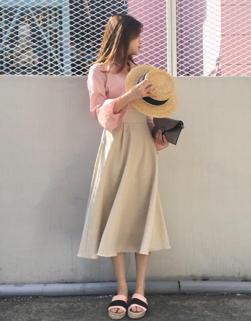 A-Line Linen Midi Skirt