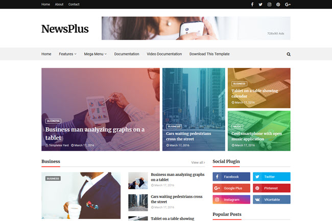 Newsplus – Responsive Magazine Blogger Template