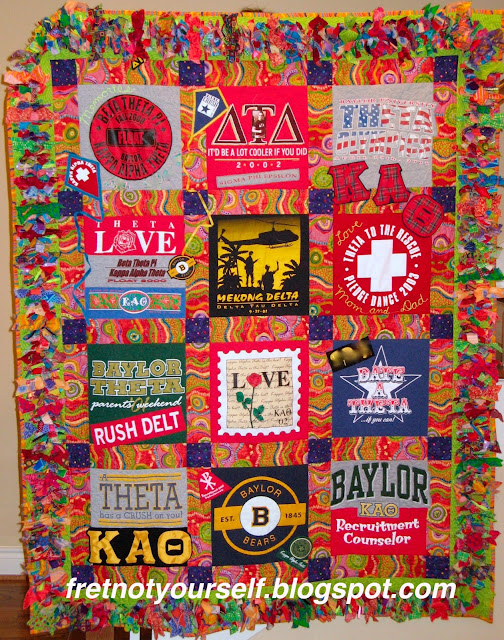 T-shirt quilt for Baylor University Theta sorority
