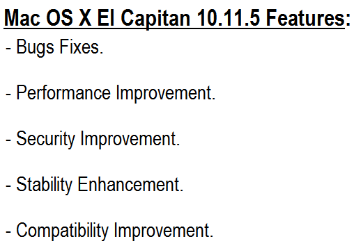 Mac OS X El Capitan 10.11.5 Features and Changelog